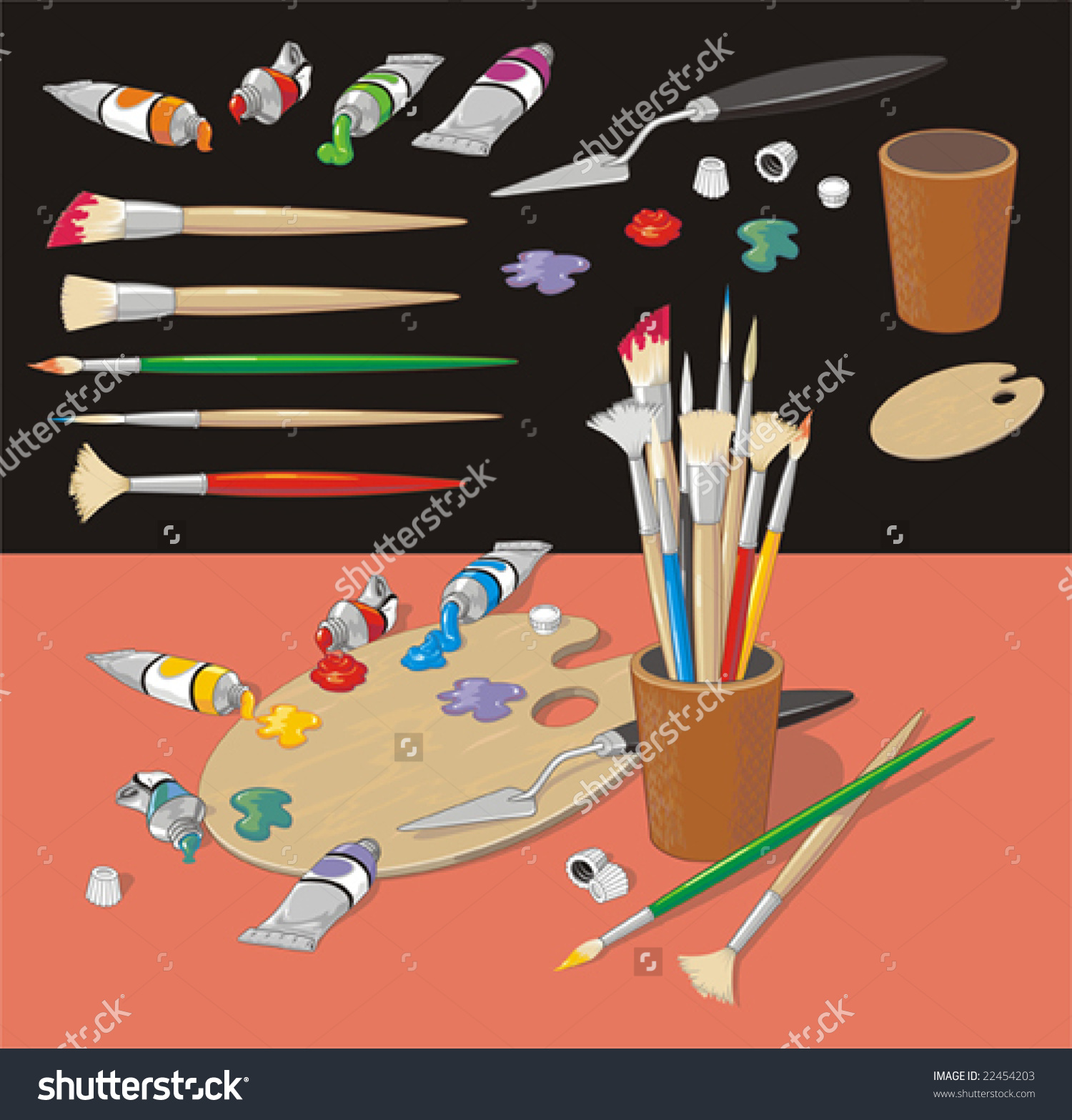 Colorful Clip Art Collection With Brushes, Ink Blots, Palette, Ink.