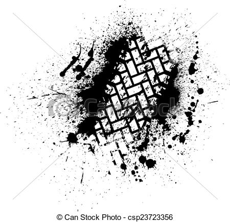 Clipart Vector of Tire track with ink blots.