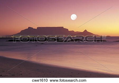 Stock Photography of Moon over Table Mountain in Cape Town from.