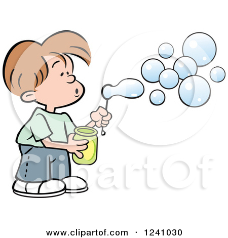 boy and girl blowing bubbles clipart #16