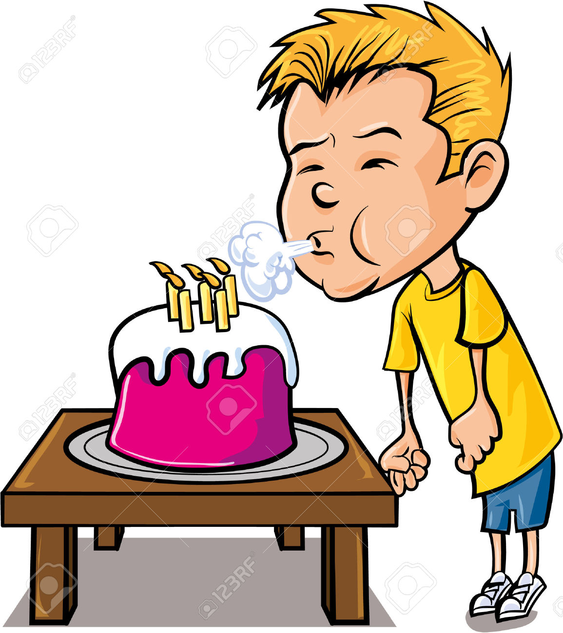 Blowing out candles clipart.