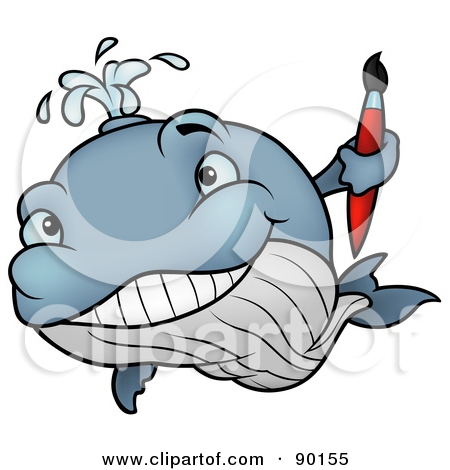 Clipart Illustration of a Happy Blue Whale Shooting Water Out Of.