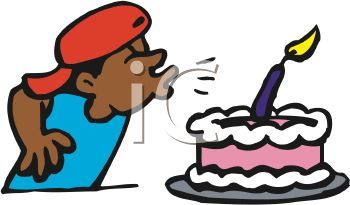 Royalty Free Clipart Image: Boy Blowing Out Candle On His Birthday.