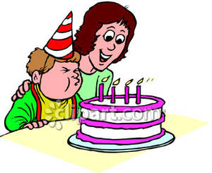 Blowing out birthday candles clipart.