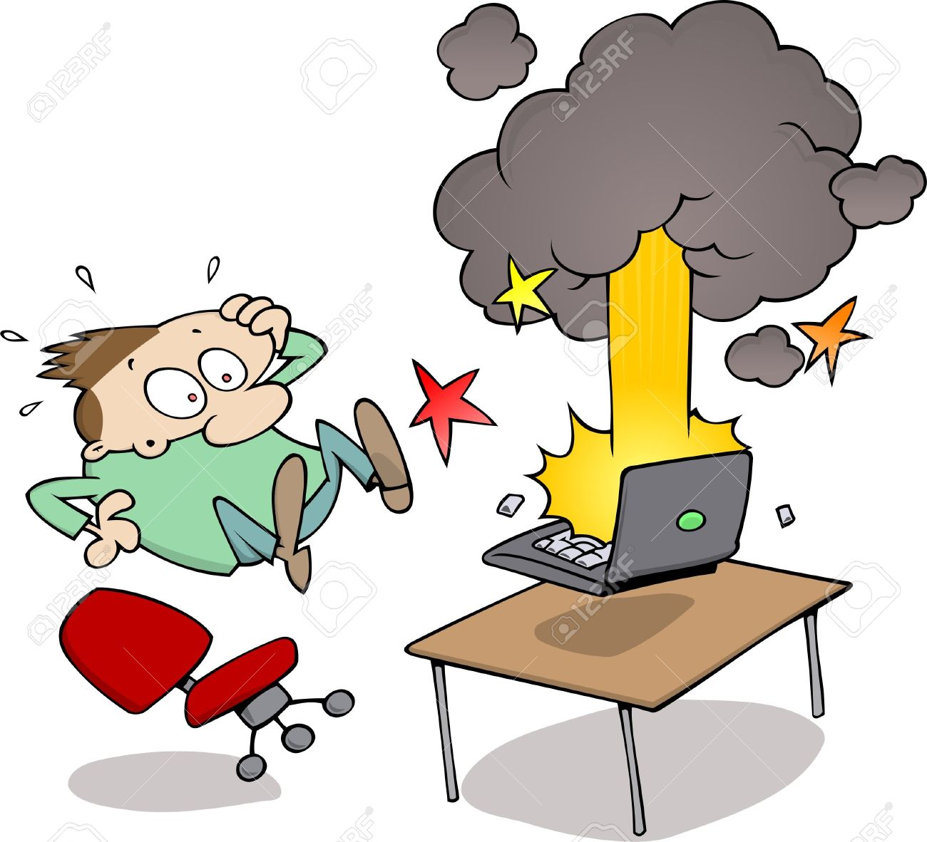 Surprised Male Watching His Computer Blow Up Stock Photo, Picture.