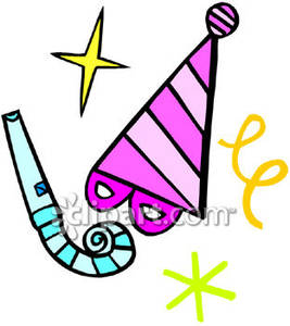 Pink Party Hat With A Blue Party Blower.