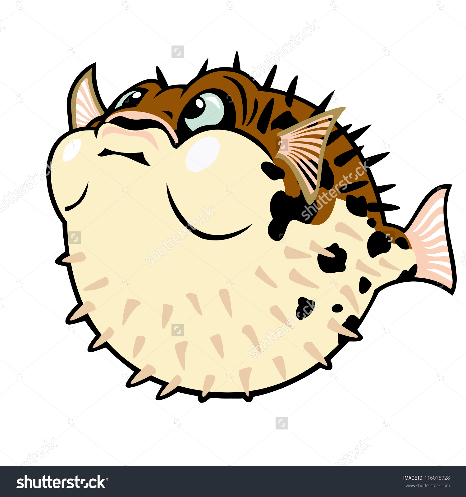 Puffer Fishblow Fishcartoon Vector Image Isolated Stock Vector.