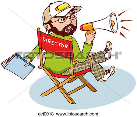 Clipart of Businessman speaking through a blow horn car0201.