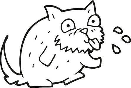 black and white cartoon cat blowing raspberry Clipart Image.