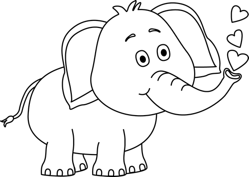 Black and White Elephant Blowing Hearts Clip Art.