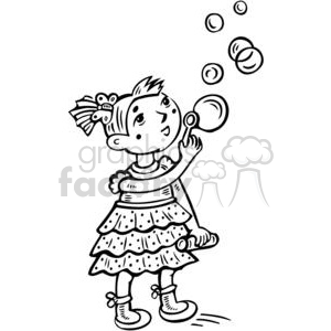 small girl blowing bubbles clipart. Royalty.