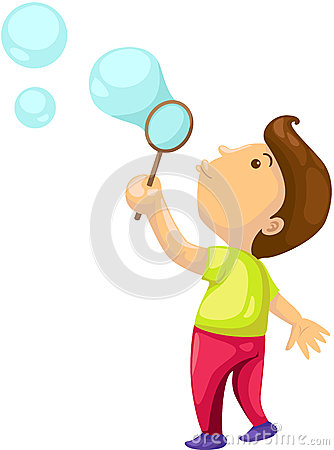 Child blowing bubbles clipart.