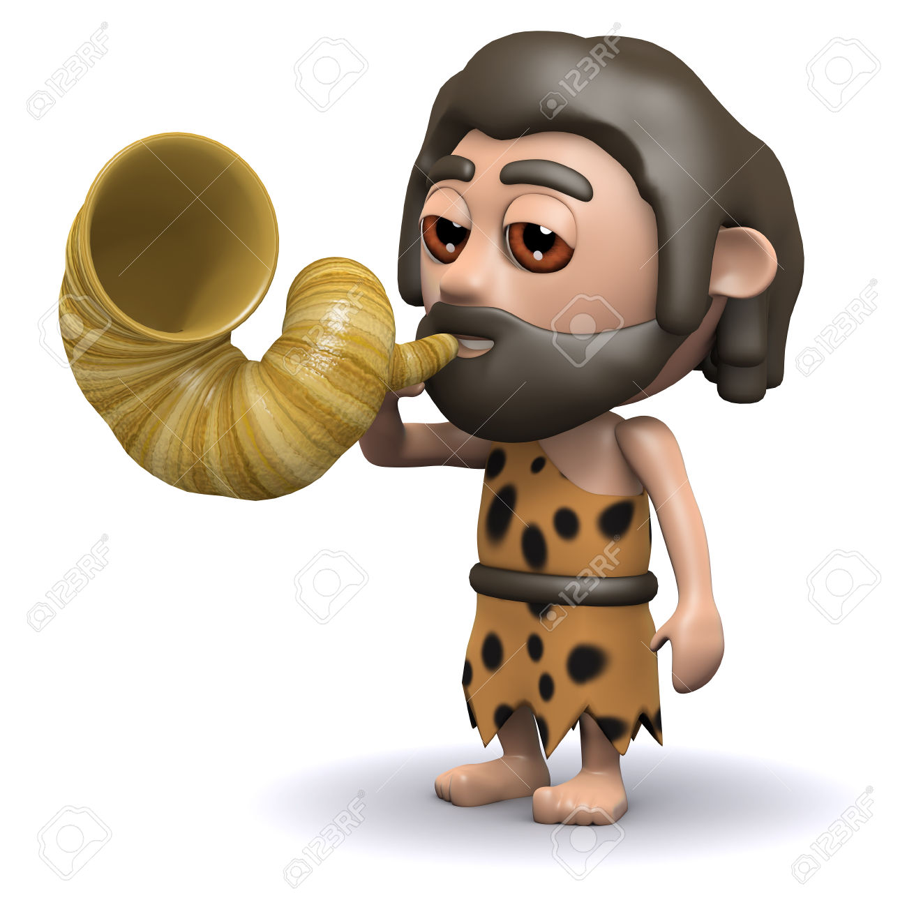 3d Render Of A Caveman Blowing On A Horn Stock Photo, Picture And.