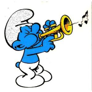 Musician SMURF blowing trumpet music instrument musical note Iron.