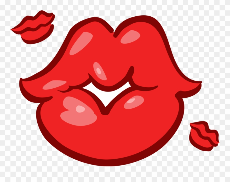 Vector Illustration Of Mouth Lips Blowing Kisses.
