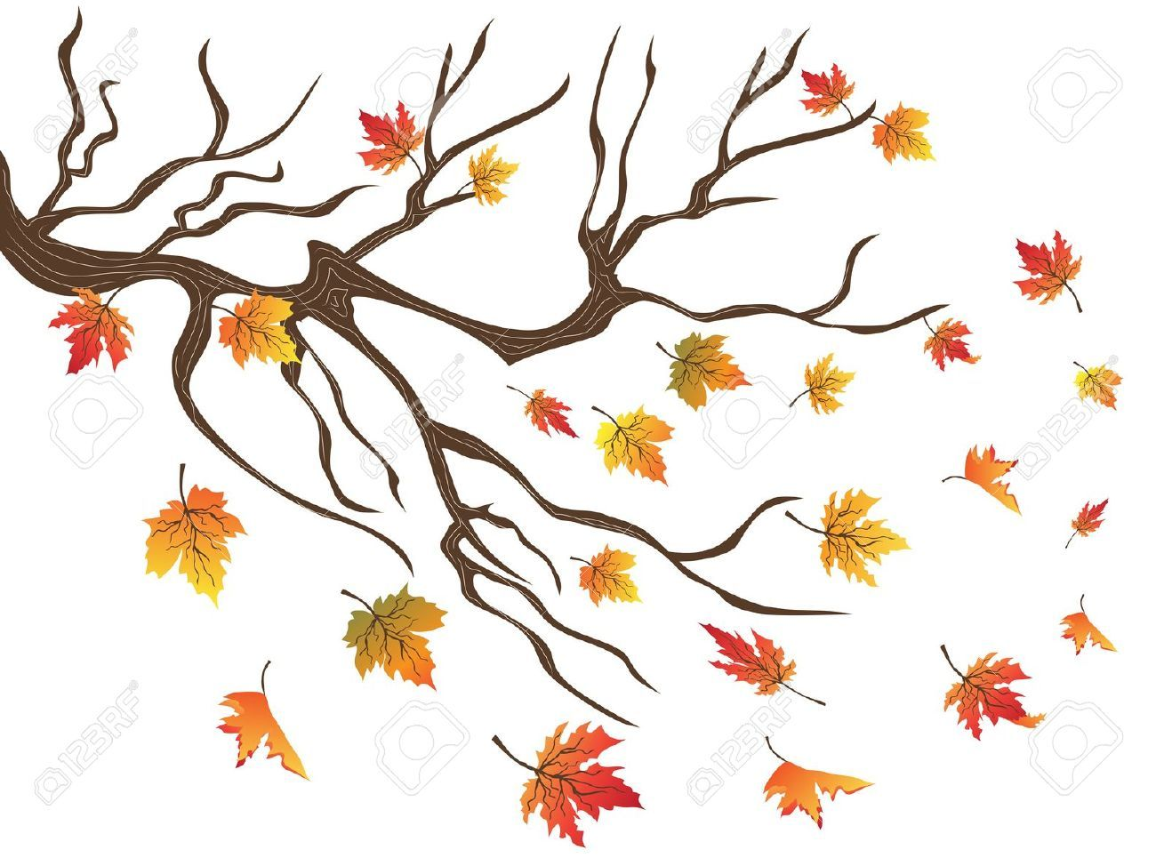 leaves blowing clip art.