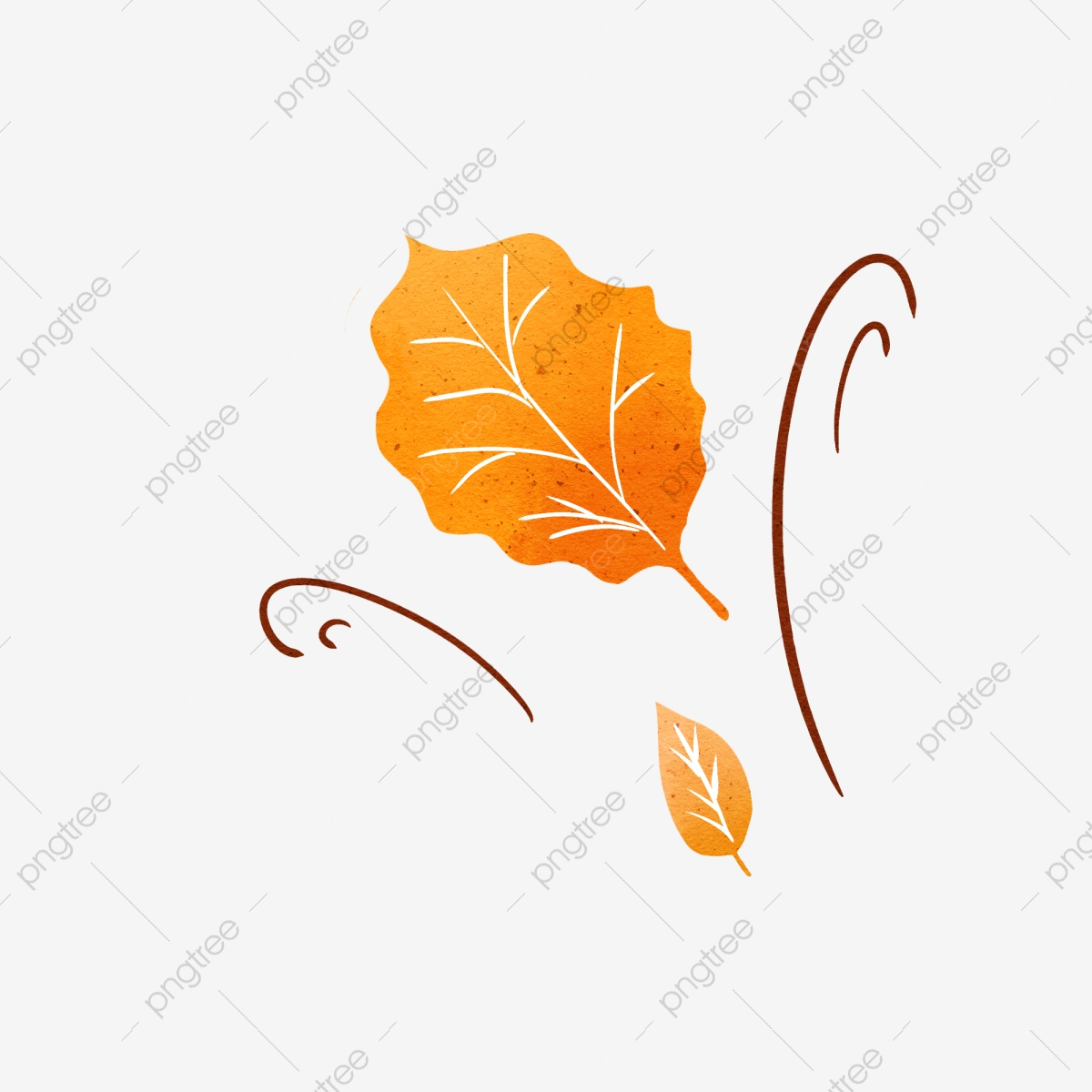 Autumn Wind Blowing Leaves Hand Drawn Elements, Fall, Wind, Leaf PNG.