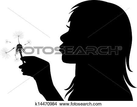 Clipart of vector girl blowing the dandelion k14470984.