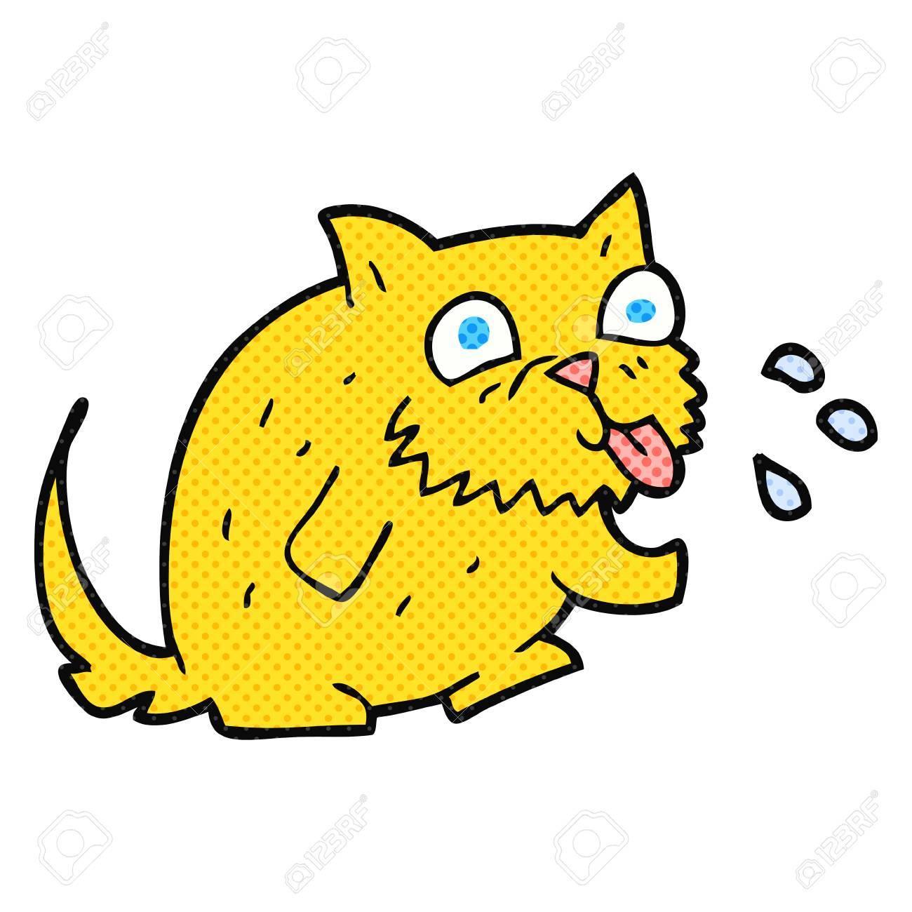 freehand drawn cartoon cat blowing raspberry.