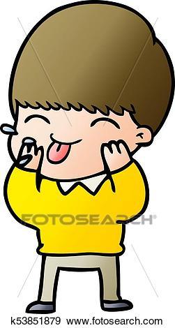 Cartoon boy blowing raspberry Clip Art.