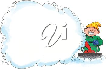 Clipart Image of a Man Blowing Snow.