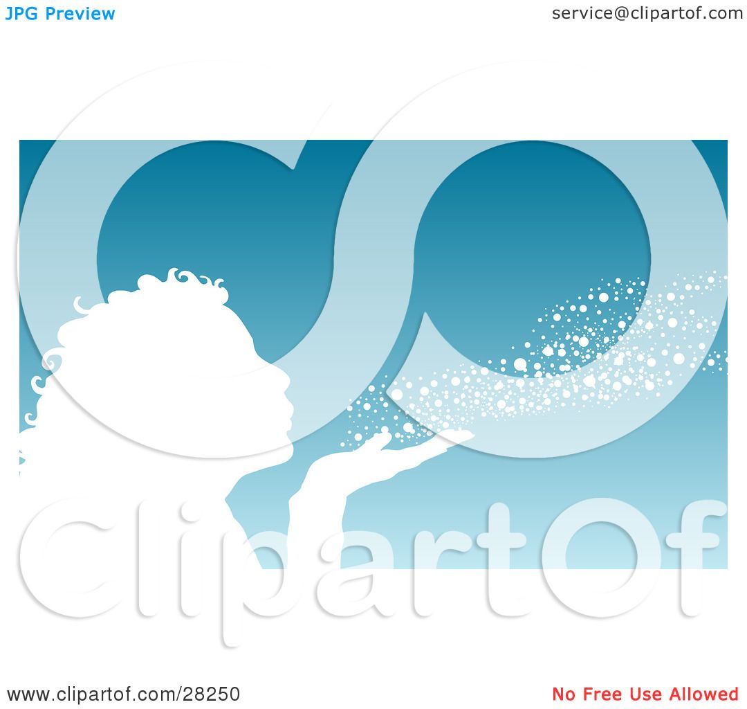 Clipart Illustration of a White Silhouetted Woman Or Girl Blowing.