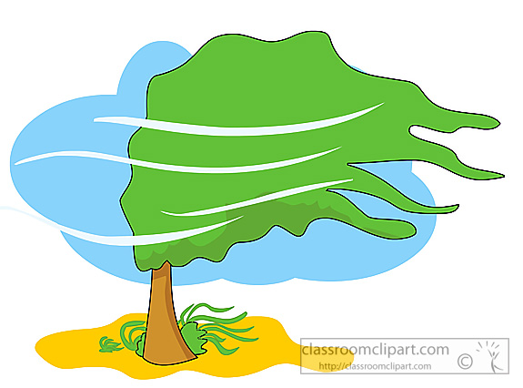 Weather Wind Blowing Tree Clipart.