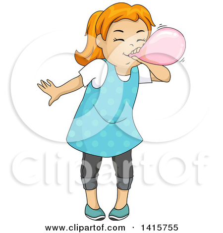 Clipart of a Red Haired White Girl Blowing up a Balloon.