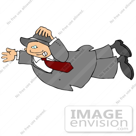 Man Flying or Being Blown in the Wind Clipart.