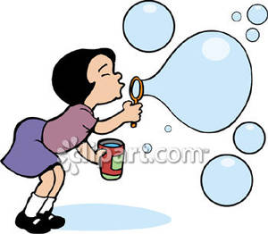 Girl Blowing Bubbles Royalty Free Clipart Picture.