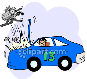Clipart Picture of the Engine Blowing Out of a Race Car.