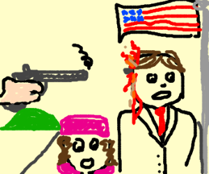 JFK getting his brains blown out (drawing by MiffedPeach).