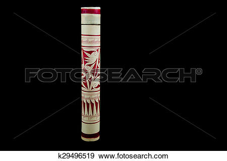 Stock Photograph of Borneo Dayak Bamboo Blowpipe Container.