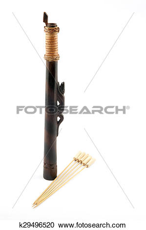 Stock Photography of Borneo Dyak Short Blowpipe and Bamboo Darts.