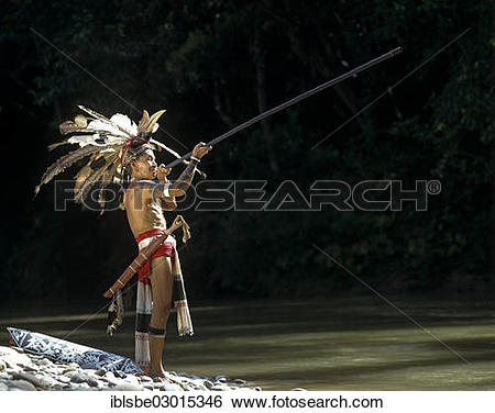 "Stock Images of ""Head hunter of the ethnic group of the Iban."