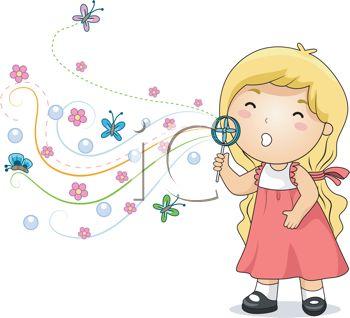 Cute Little Girl Blowing Bubbles.