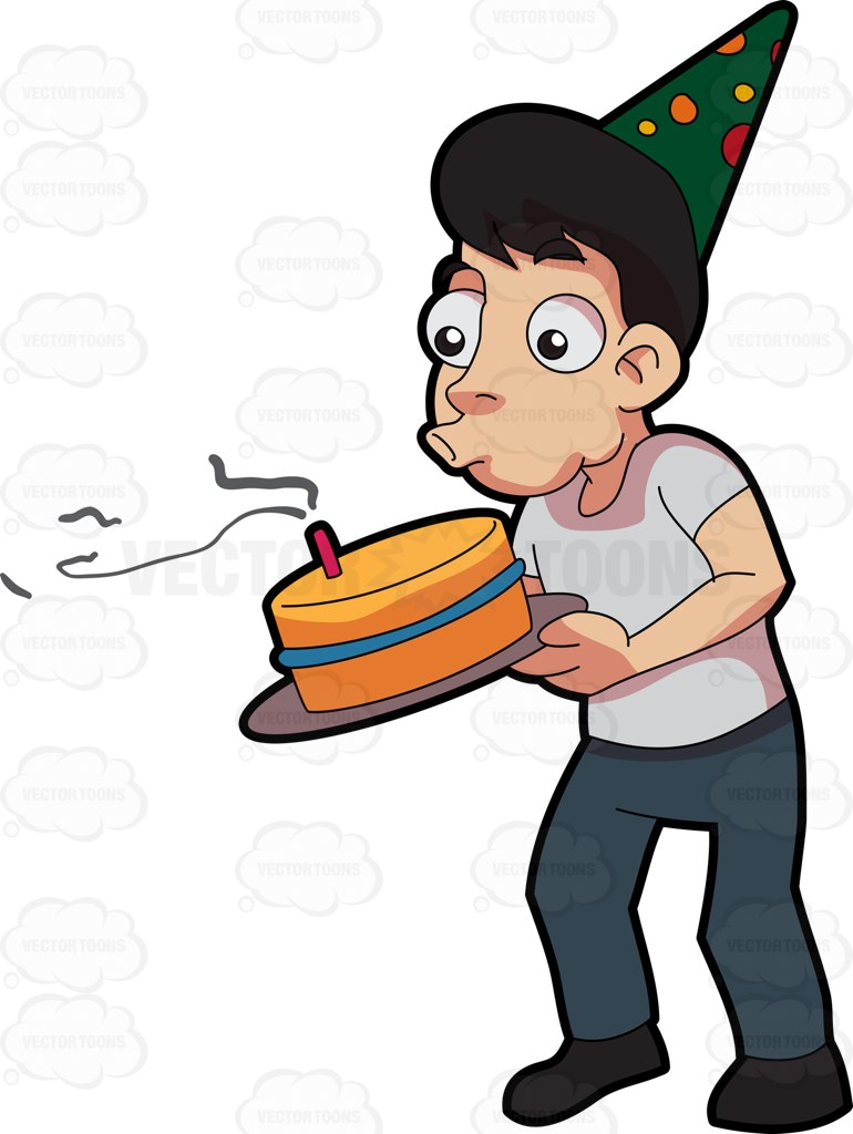 A Man Blowing The Candle In His Birthday Cake Cartoon Clipart.