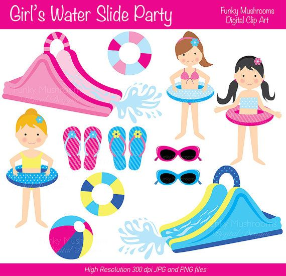 Blow up pink water slide clipart.
