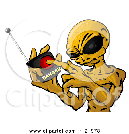 Clipart Picture Illustration of a Mean Green Alien With Big Black.