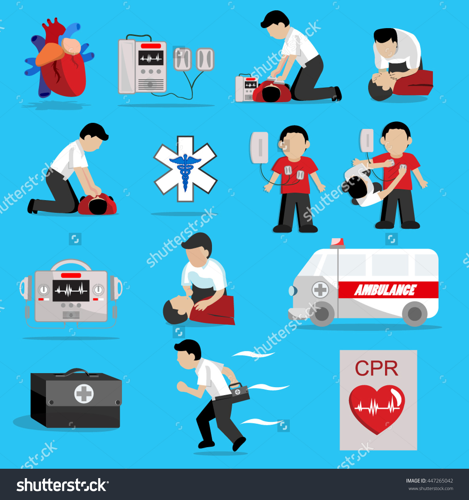 Cpr Cardiopulmonary Resuscitation Basic Life Support Stock Vector.