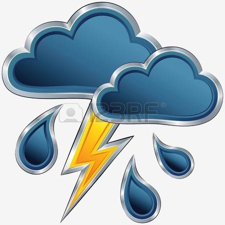 Vektor Ein Symbol Des Schlechten Wetters Mit Wolken, Ein Gewitter.