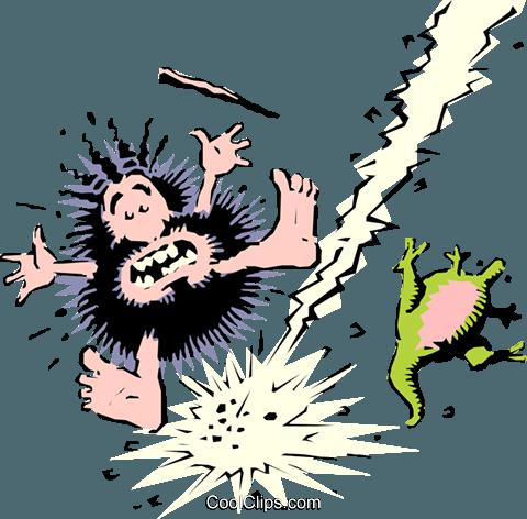 Caveman schlug durch Blitzschlag Vektor Clipart Bild.