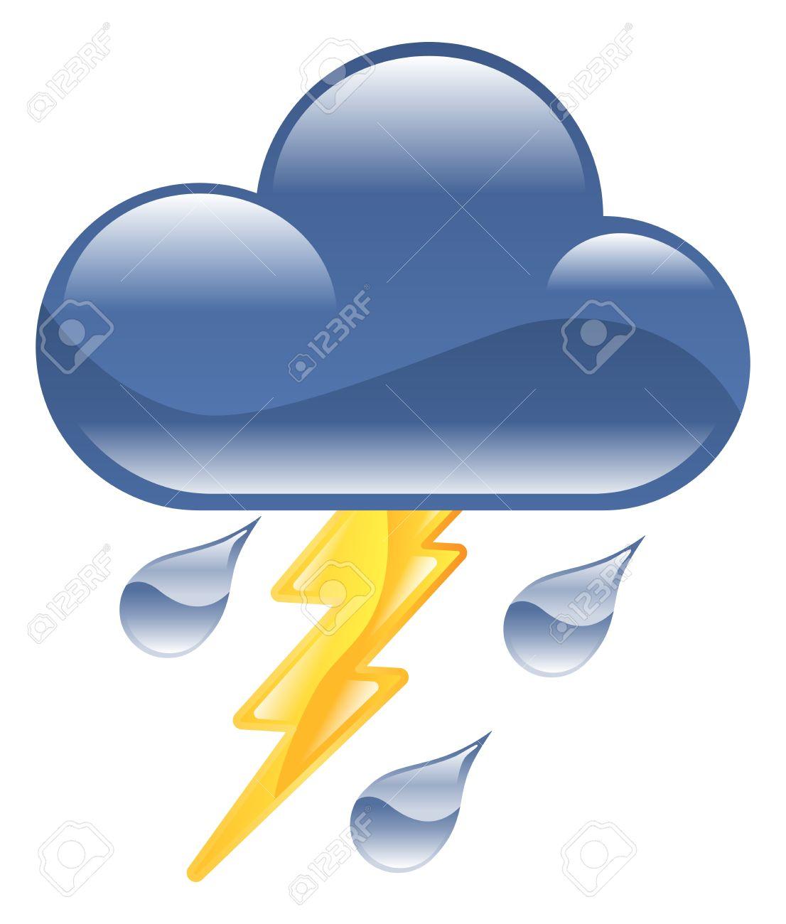 Wetter Icon Cliparts Blitz Gewitter Illustration Lizenzfrei.