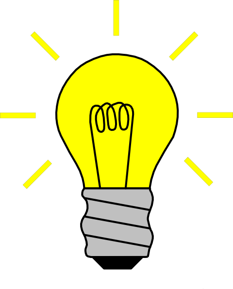 Thinking Light Bulb Clip Art.