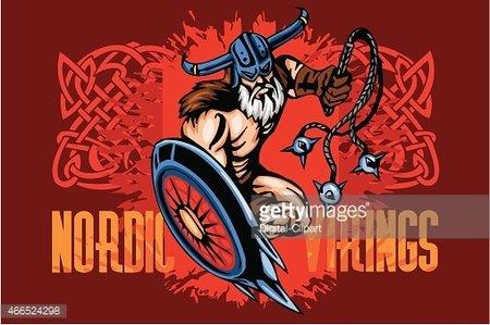 Viking Norseman Mascot Cartoon With Bludgeon and Shield.