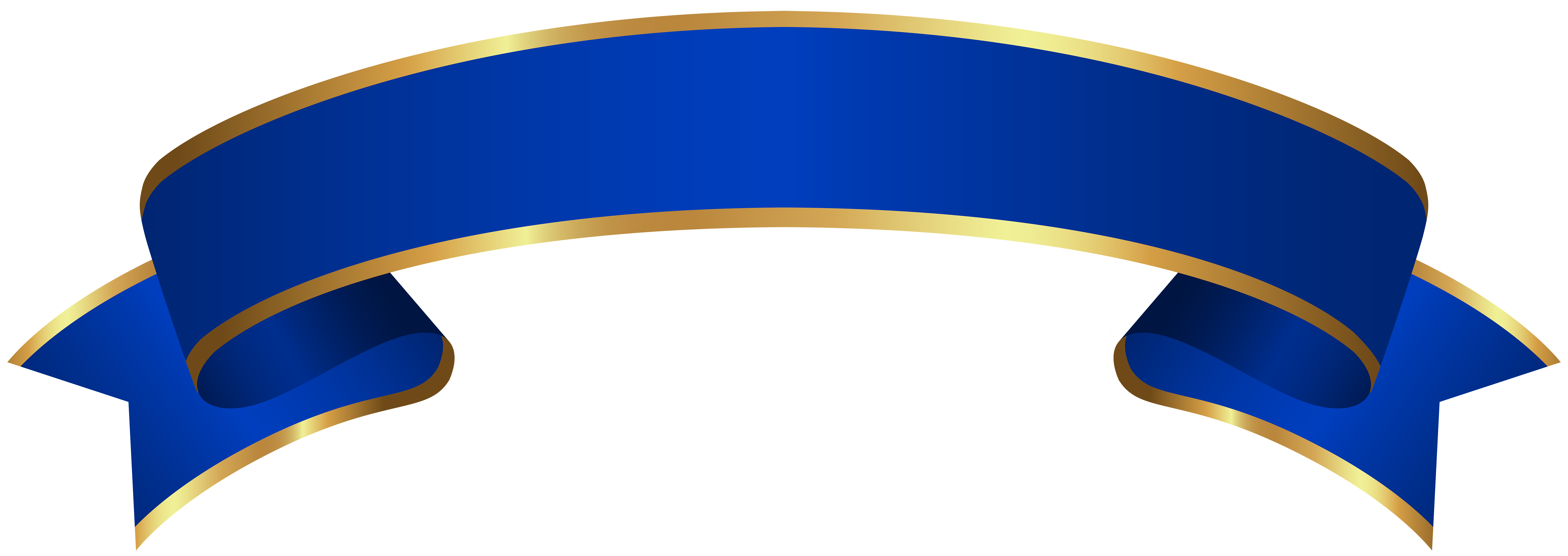 Blue Gold Banner Transparent Clip Art.