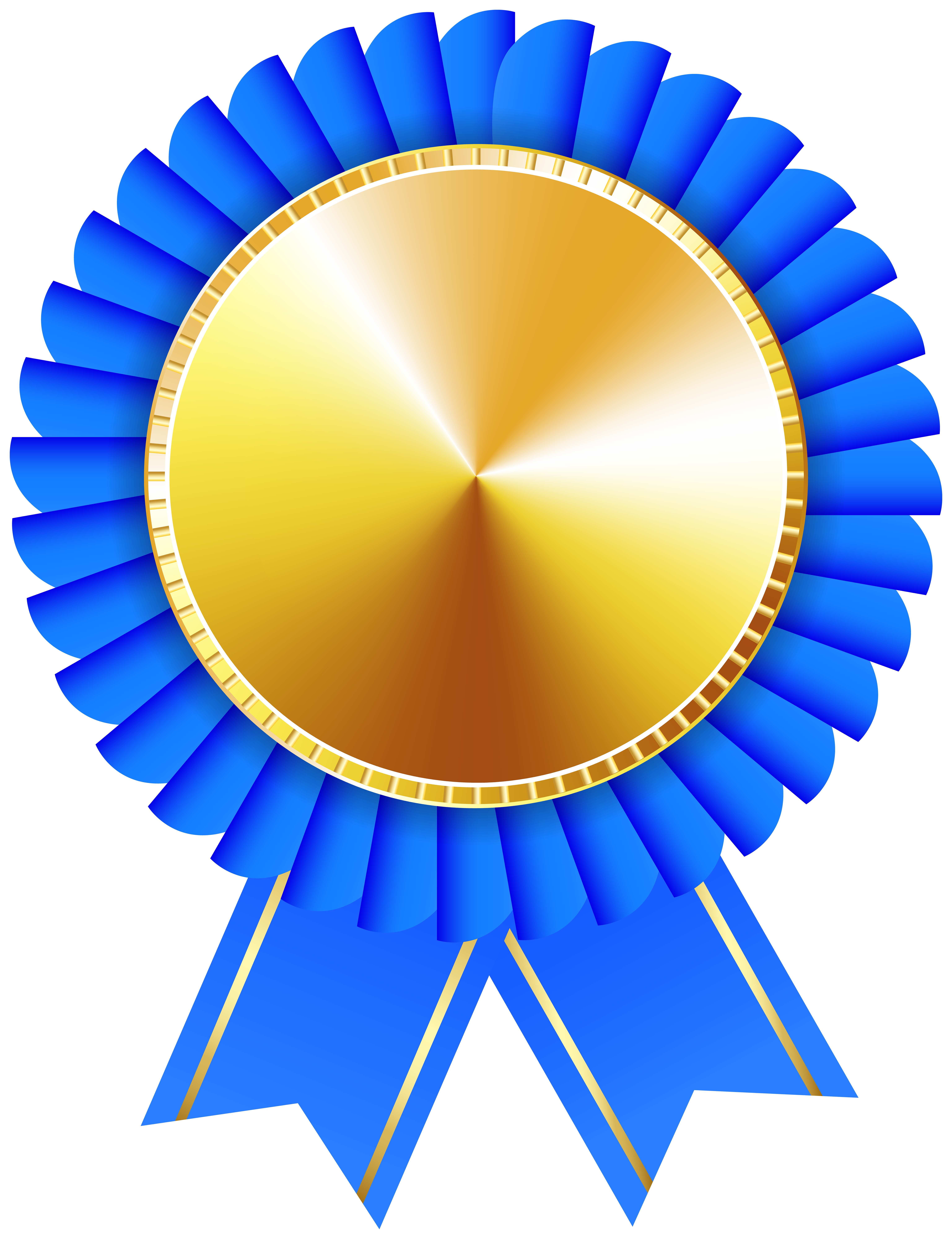 Rosette Ribbon Blue Gold Transparent Image.