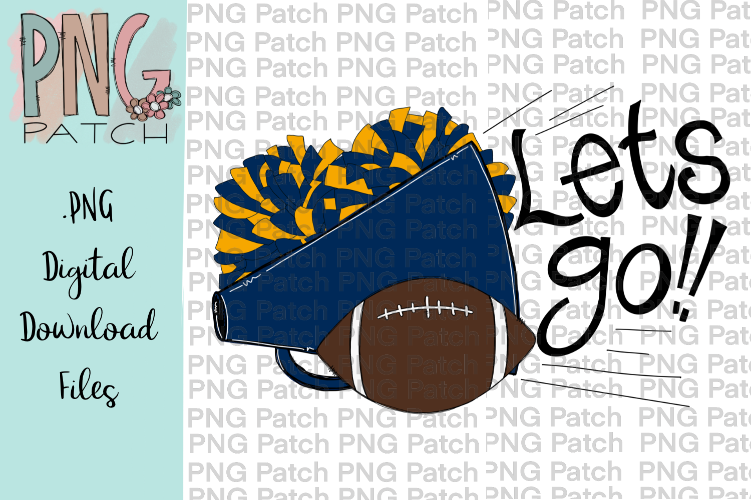 Lets Go! Blue and Gold Football, Megaphone, and Pom Poms.