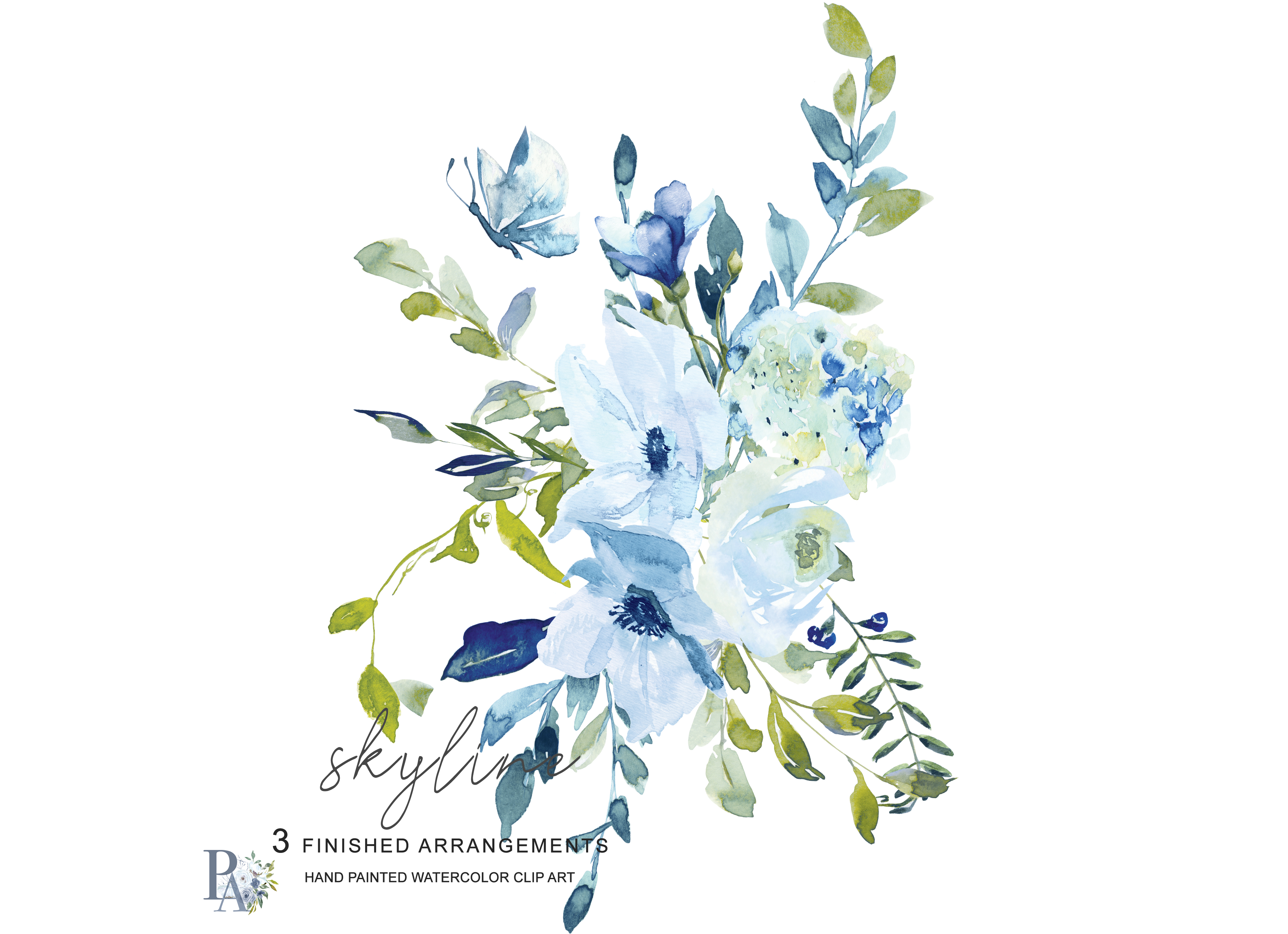 Hand Painted Watercolor Light Blue and Green Florals Clipart.