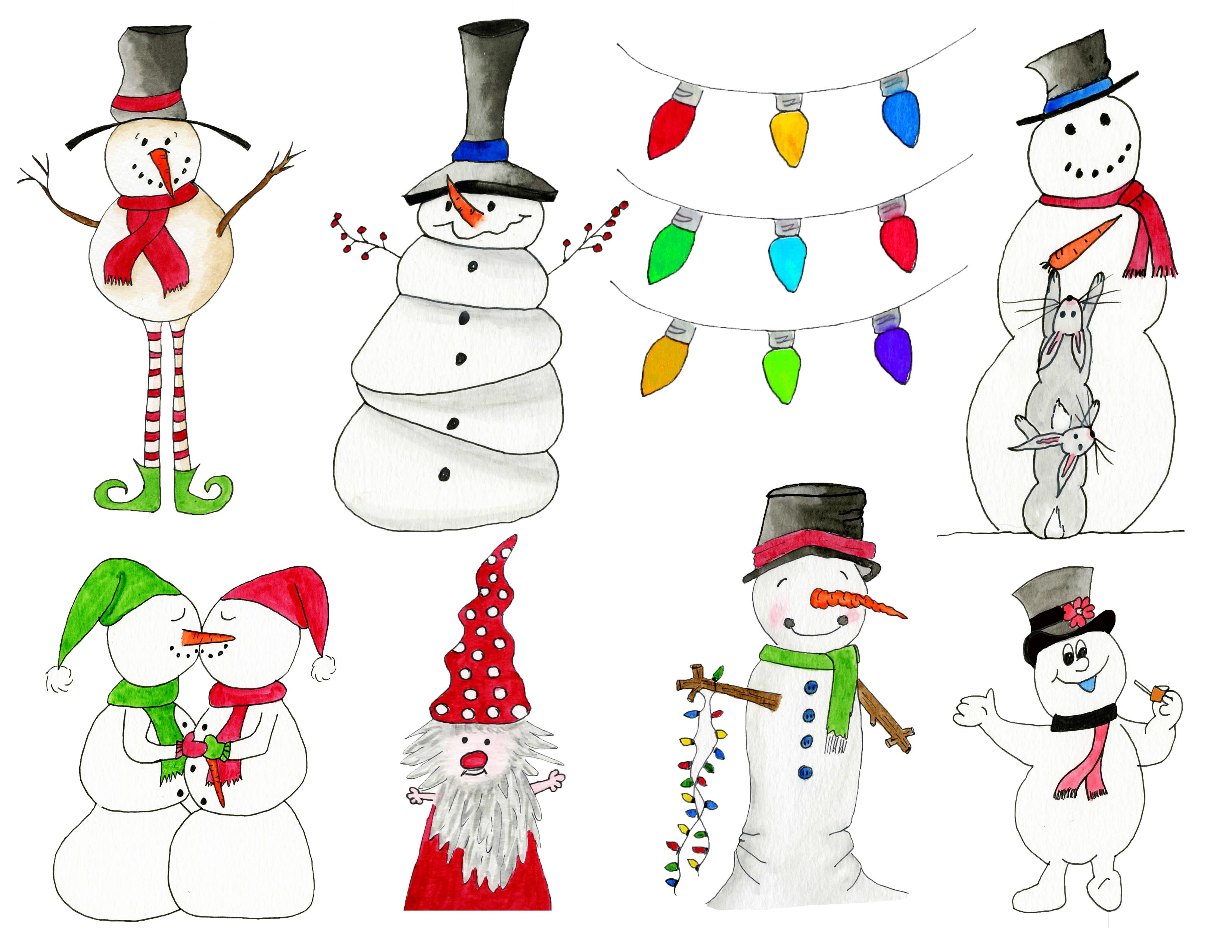 Watercolor Snowmen.